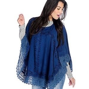 NWT Embroidered Boho Lace Trim Poncho Tunic Top
